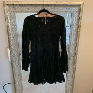Free People Black Lace Bell Sleeve Dress